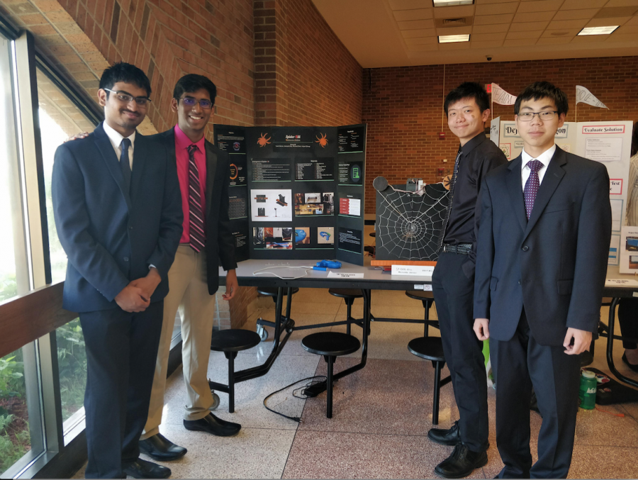 Yash Manne poses with Sampath Eaty, Richard Chen, and Hubert Zhang. 1. What project did you do?  Manne: Our project was called