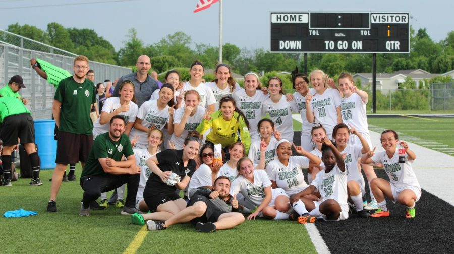 The+team+poses+after+their+resounding+victory.+%22It%27s+a+surreal+feeling%2C%22+coach+Lee+Hudson+said.+%22The+girls+are+outstanding+and+are+playing+the+best+soccer+of+their+lives+right+now.%22
