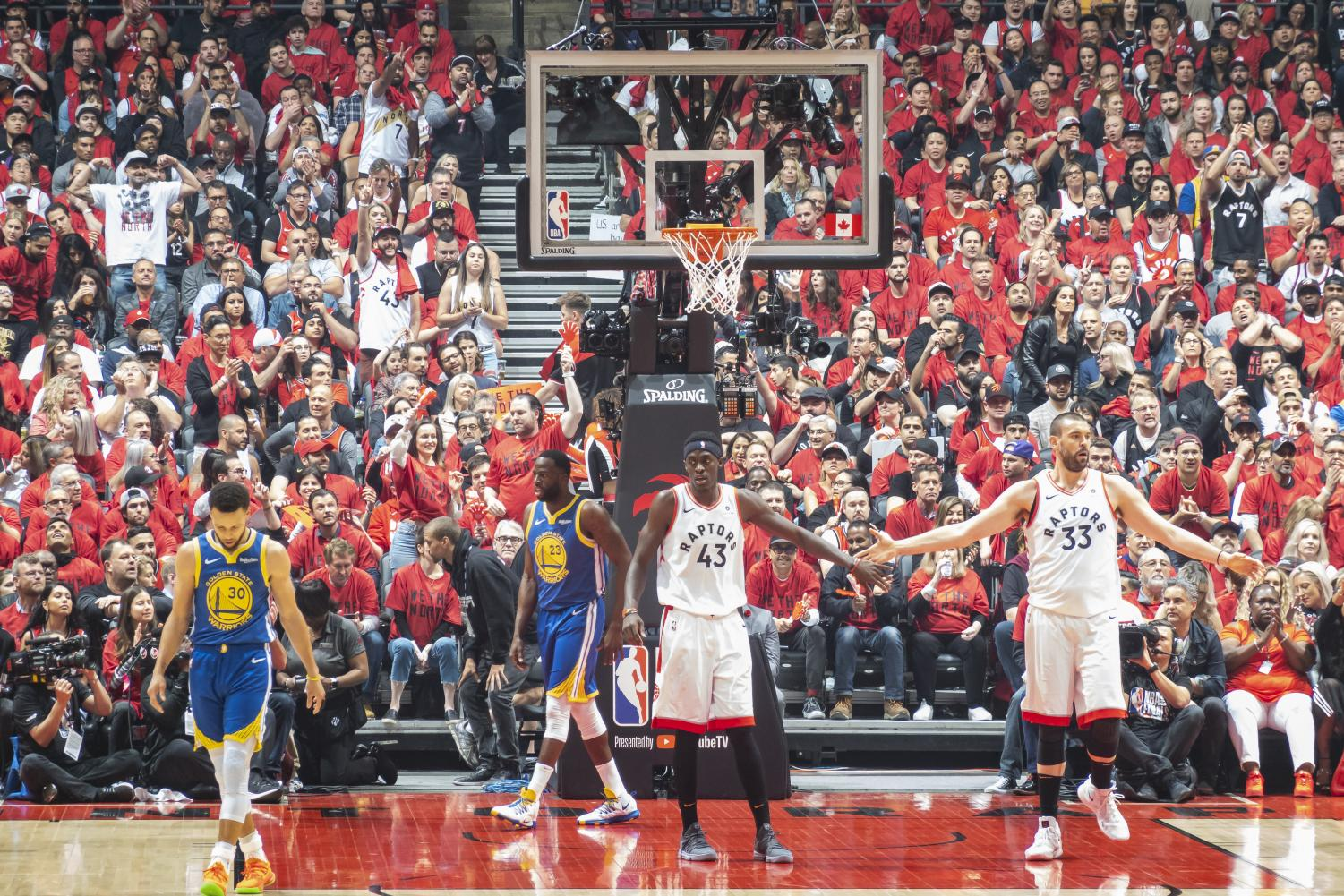 Game two of the National Basketball Association's finals. Pictures (left to right) Stephen Curry, Draymond Green, Pascal Siakam, and Marc Gasol.