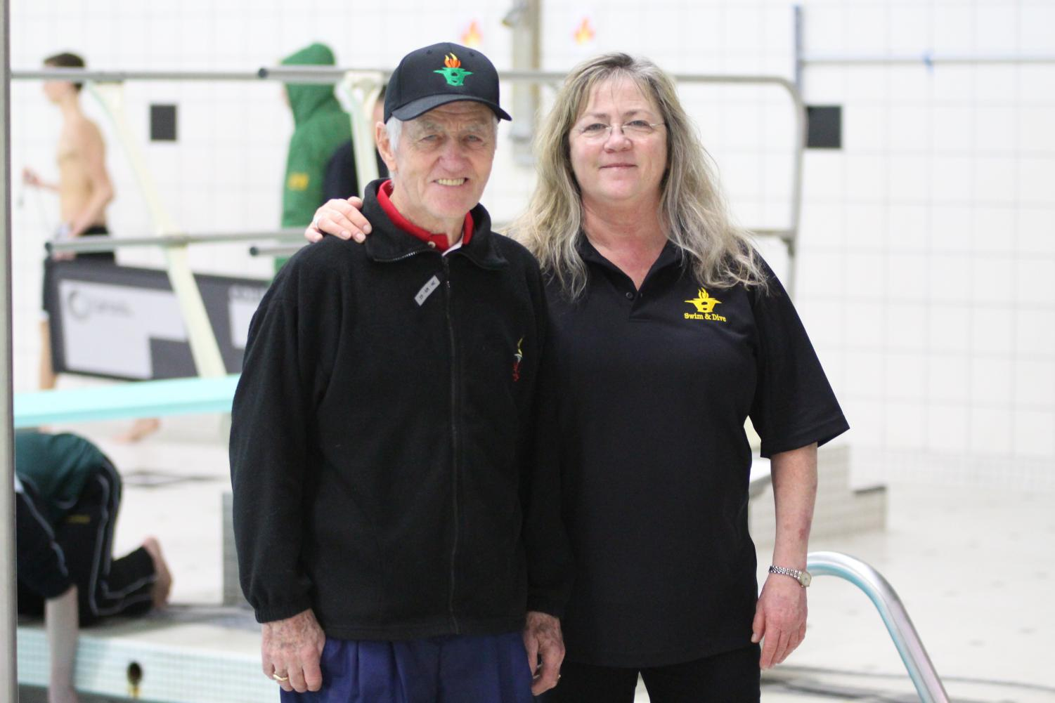 Vicki and Dick Kimball photographed in Huron High school's swimming pool.