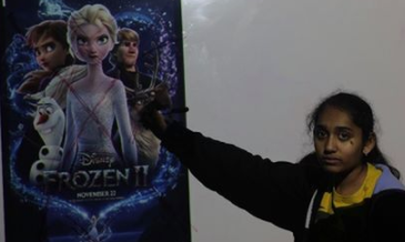 Poster provided by Disney, photographed freshman Ridhima Kodali crossing out the characters featured in the movie Frozen Two.