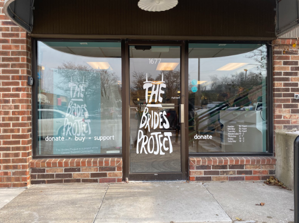 The storefront of The Brides Project, located at 1677 Plymouth road in Ann Arbor.
