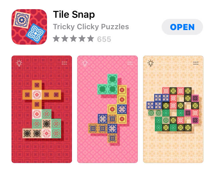 The app 'Tile Snap' in the Apple App store.