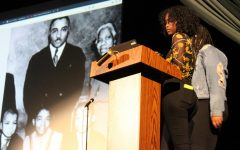 Senior Mariam Mohamed giving a presentation about unknown facts pertaining to Martin Luther King.