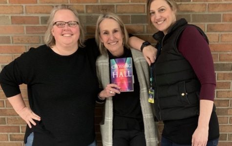 Author and former teacher Lori Wojtowicz (center with CP Personal and Professional skills teacher Ms. Garrett(left) and DP theory of knowledge teacher Ms. Anderson(right).