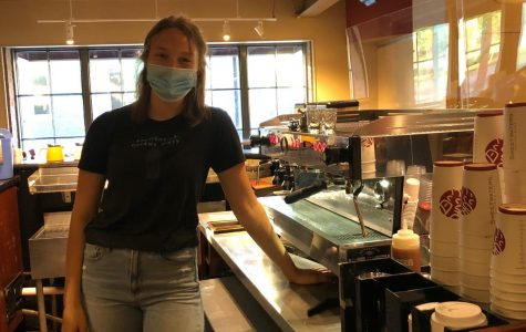 Many Huron students, including Senior Kate VanEe, work at essential businesses such as local restaurants. She has had to adapt to many changes at her part-time job at Sweetwaters due to COVID-19 restrictions. Courtesy of Kate VanEe