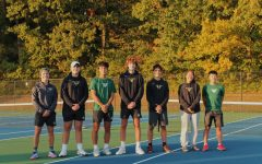 Seniors Vincent Tremonti, Aidan Storey, Tianjian Bai, Nick Grosh, Pedro Foss, Angie Zhou and Michael Shi (from left to right) stand together on senior night.