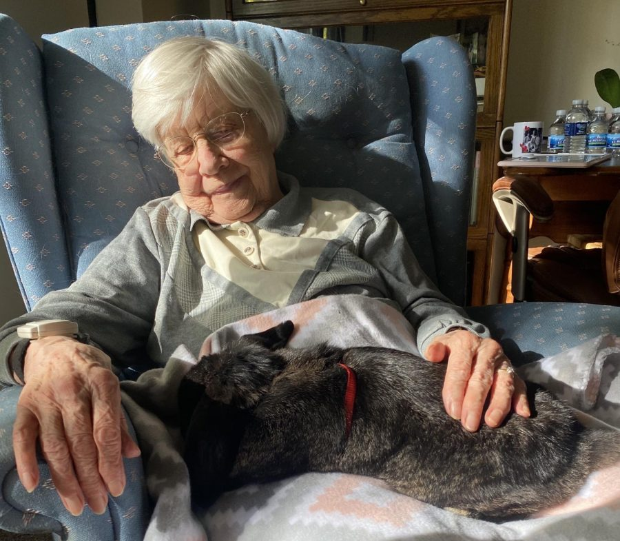 Hillside Terrace Senior Living's resident Phyllis with a bunny.