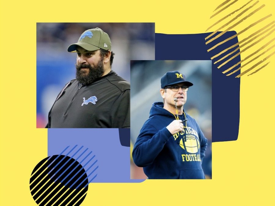 Detroit Lions coach Matt Patricia (right) looks on before their NFL game against the Dallas Cowboys at Ford Field in Detroit. Head coach Jim Harbaugh watches as players run scrimmage during Michigan's Spring Game at Michigan Stadium.