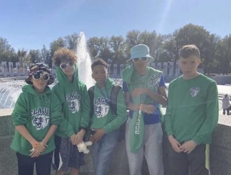 Josh and his friends at the  National Mall and Veterans Memorials during the eight grade Washington, D.C. trip.