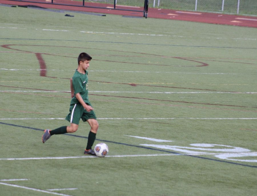 Nick Yiu is part of Hurons soccer team. Pictured he is in a game against Saline, where Huron scored 2-1.
