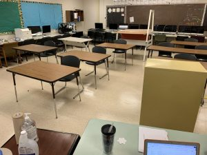 For the past few weeks, teachers have been granted access to start working in their classrooms. Room 4203 has been set up for in-person learning.