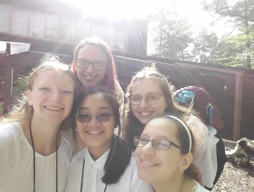 Lena Trang with her friends at Interlochen for orchestra camp.