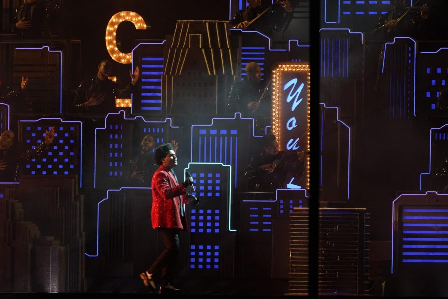 The Weeknd performs in front of fans during the halftime show for Super Bowl LV on Sunday, February 7, 2021 in in Tampa, Florida. He has been a prominent, outspoken critic of the Grammys in recent months.